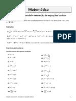 Função Exponencial – Resolução de Equações Básicas