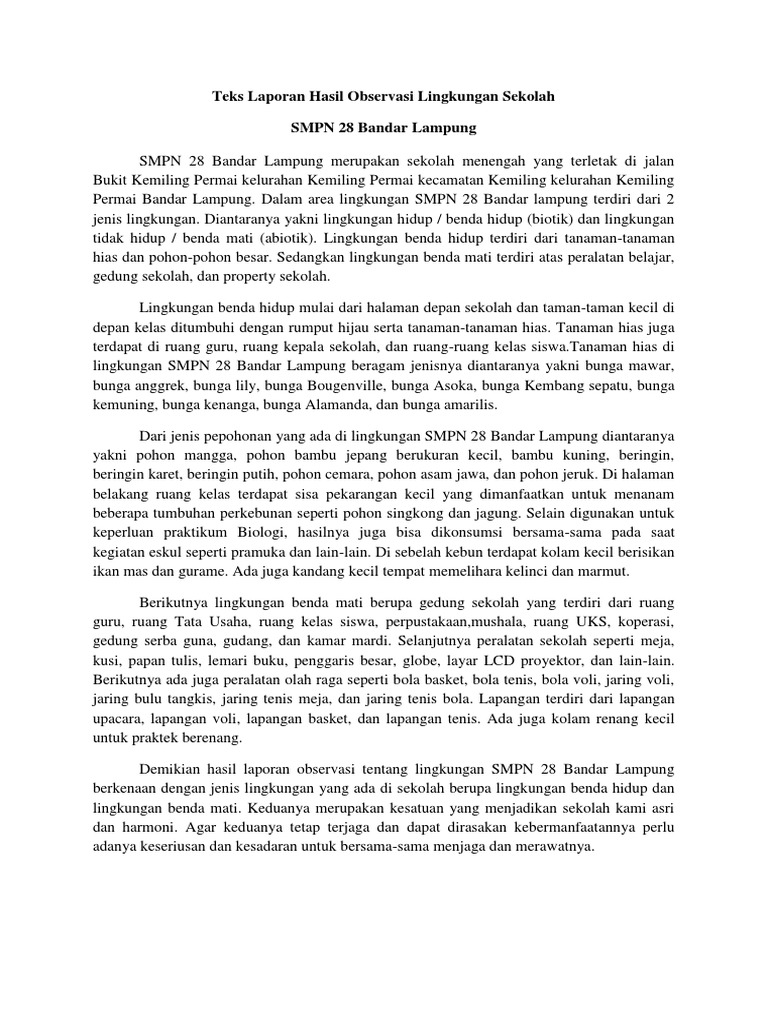 Teks Laporan Hasil Observasi Lingkungan Sekolah Smpn 28 Bandar Lampung