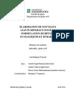 Élaboration de Nouveaux Liants Mineraux Pour La Formulation de Bétons Ecologiques Et Durables