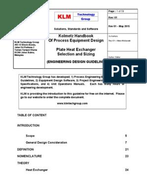 Engineering Design Guidelines Plate Heat Exchanger Rev Web Heat Exchanger Heat