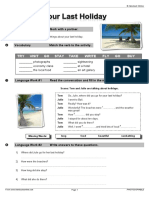 Simple Past - Your Last Vacation. Teacher Notes