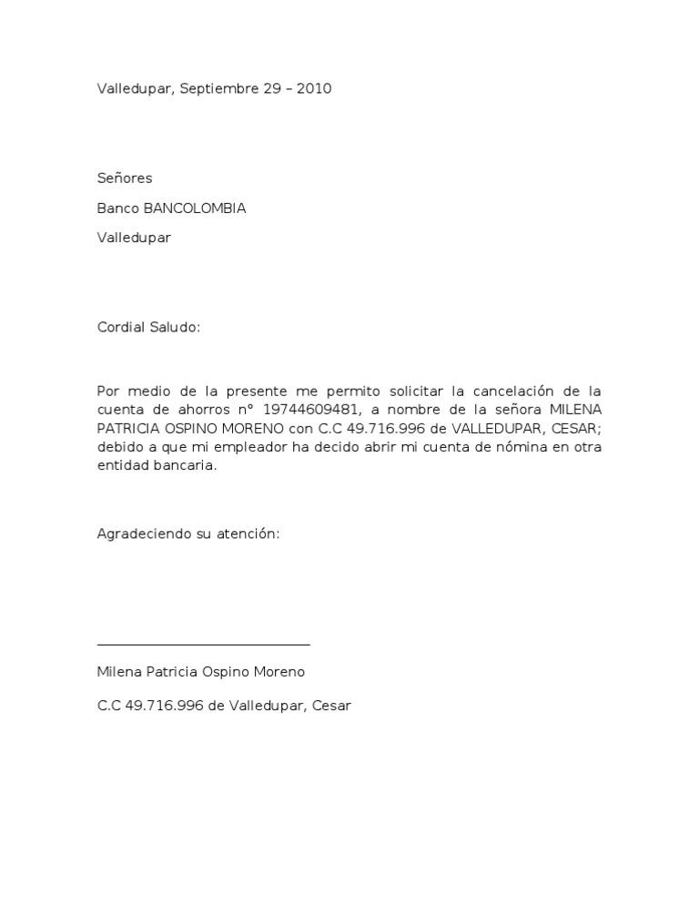 Carta cancelacion cuenta Bod solicitud de chequera