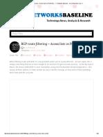 BGP Route Filtering – Access Lists vs Prefix Lists _ __ Networks Baseline - Cisco Engineers Live _