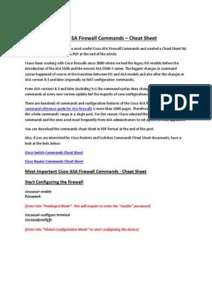 Cisco ASA Firewall Commands Cheat Sheet | Ip Address | Computer Network