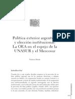 Política exterior argentina y elección institucional