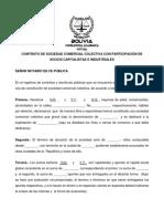 MODELO DE Contrato de Sociedad Comercial Colectiva Con Participación de Socios Capitalistas e Industriales