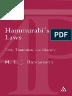 [M. E. J. Richardson] Hammurabi's Laws
