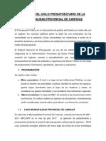 Análisis Del Ciclo Presupuestario de La Municipalidad de Carhuaz