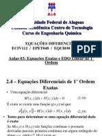 aula 03 - Equações Diferenciais de 1° ordem - Exatas e EDO linear