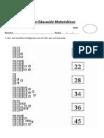 Prueba de Matemáticas Barras de Las Decenas Intermedios