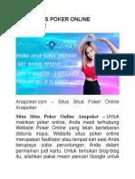 Situs Situs Poker Online Anapoker