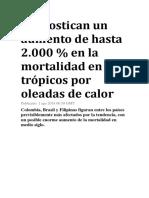 Pronostican un aumento de hasta 2.000 % en la mortalidad en los trópicos por oleadas de calor