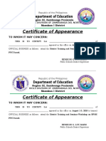 Certificate of Appearance District