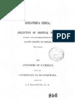Aphorisms of Sandilya - Skt Commentary of Swapneswara 1861 (Alt)