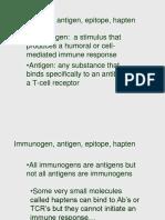 Immunogen, Antigen, Epitope, Hapten