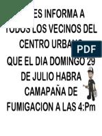 Se Les Informa a Todos Los Vecinos Del Centro Urbano