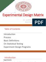 Exparimental Design Matrix