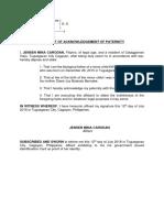 affidavit of acknowledgment of paternity