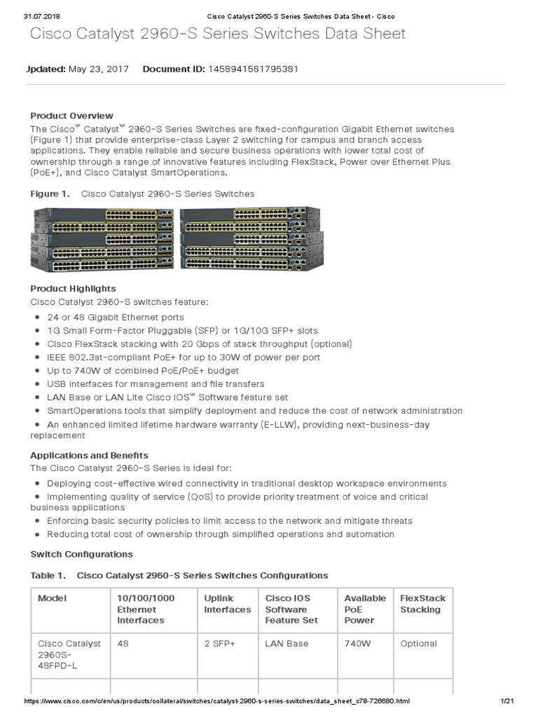 Cisco Catalyst 2960 S Series Switches Data Sheet Network Switch With Lan Base Vs Ip Computer Networking
