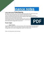 Maintenance Notes Kode Bearing
