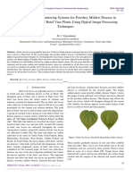 Investigation and Monitoring Systems for Powdery Mildew Disease in Sirugamani Variety of Betel Vine Plants Using Digital Image Processing Techniques