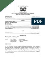 Tom Tikolo & Others v Sports Registrar - Decision