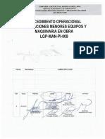 CC54-LGP-MAN-PI-009 Reparaciones Menores de Equipos y Maquinaria en Obra. Rev.B