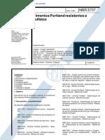 NBR 5737 - 1992 - CIMENTOS PORTLAND RESISTENTES A SULFATOS.pdf
