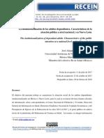 La institucionalización de los adultos dependientes. Características de la atención pública a nivel nacional y en nuevo león