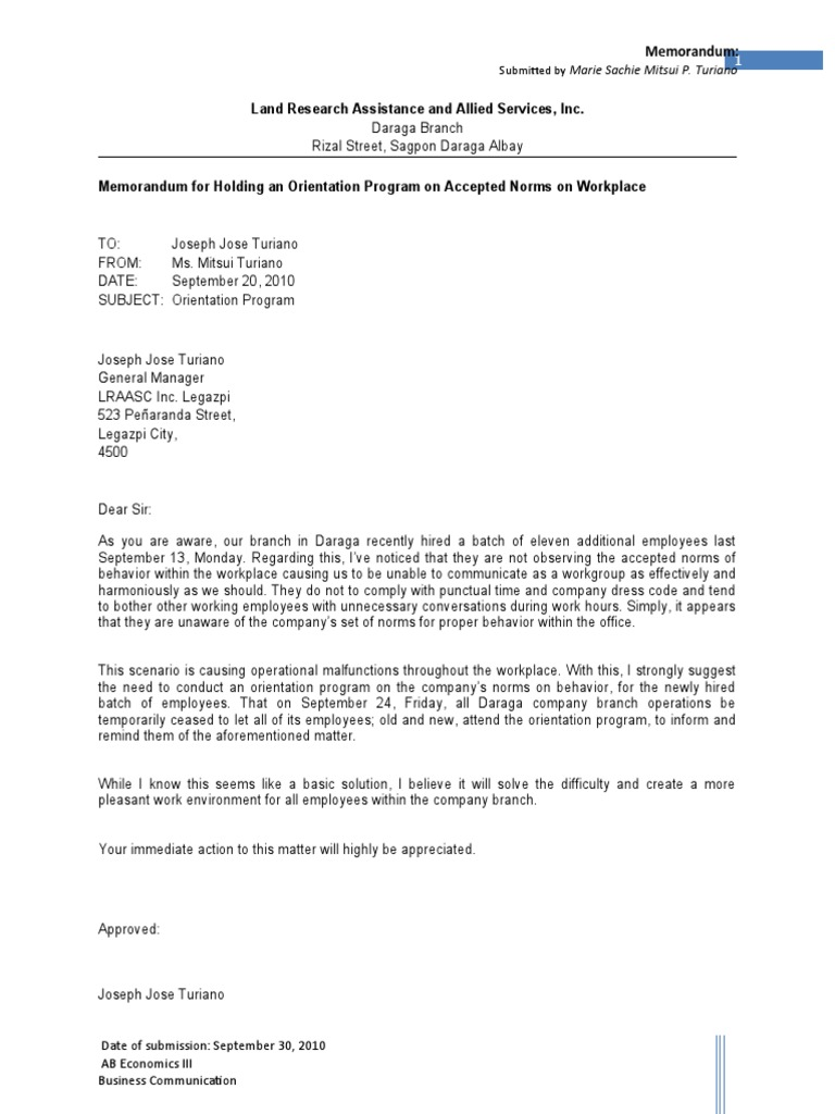 Example Of An Interoffice Memo Business Memorandum Sample – Sample Interoffice Memo