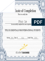 Title IX Essentials for International Students Certificate