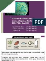 Analisis Bakteri Listeria monocytogenes Berdadasarkan ISO, FDA, dan SNI