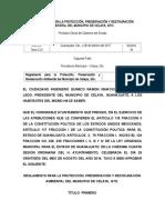 REGLAMENTO PARA LA PROTECCIÓN, PRESERVACIÓN Y RESTAURACIÓN AMBIENTAL DEL MUNICIPIO DE CELAYA, GTO.