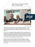Pide Concamin a AMLO plan para impulsar industria; austeridad en gobierno no basta, apunta