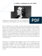 Conferencia de Oscar Wilde a Estudiantes de Arte
