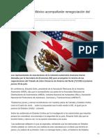 Automotrices en México acompañarán renegociación del TLCAN.
