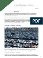Sector automotriz requiere de apoyos e incentivos.