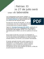 Fiestas Patrias 27 Julio 2018
