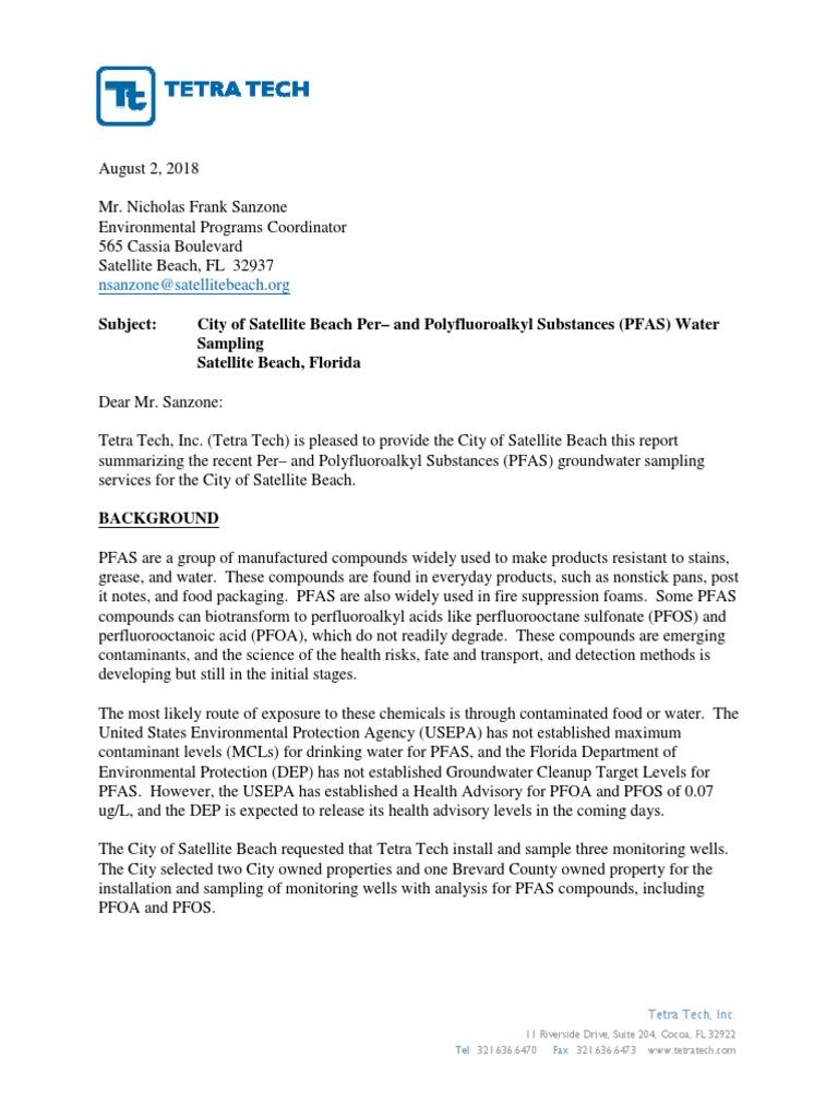 Satellite Beach PFOS-PFOA Sampling Report | Detection Limit | Chemistry