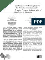 Avaliação de um Programa de Formação para Integração das Tecnologias na Educação