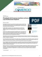 ECom - Presidente del Conesup mantiene rechazo a reformas a la Ley de Educación Superior