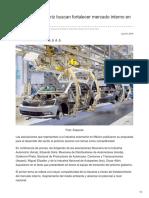 Industria automotriz buscan fortalecer mercado interno en 6 años más.