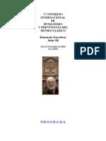 """Programa """"V Congreso Internacional Humanismo y Pervivencia del Mundo Clásico"""""""