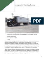 20 mil camiones de carga entre Coahuila y Durango.