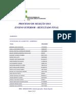 Resultado Cursos Superiores 2014 1