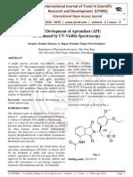 Method Devlopment of Apremilast (API) in Methanol by UV-Visible Spectroscopy