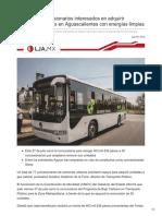 Suman 77 concesionarios interesados en adquirir camiones urbanos en Aguascalientes con energías limpias.