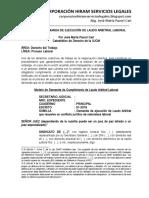 Modelo de Demanda de Ejecución de Laudo Arbitral Laboral - Autor José María Pacori Cari