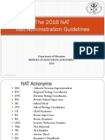 2016 NAT Test Admin Guidelines for Orientation
