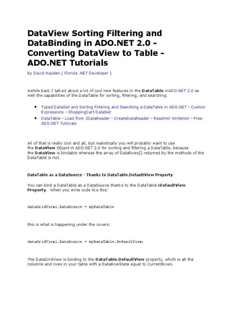 DataView Sorting Filtering and Data Binding in ADO | C